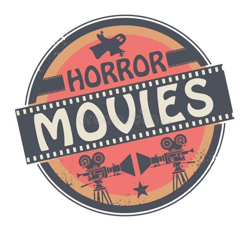 Films d'horreur de withtext de timbre ou de label illustration de vecteur