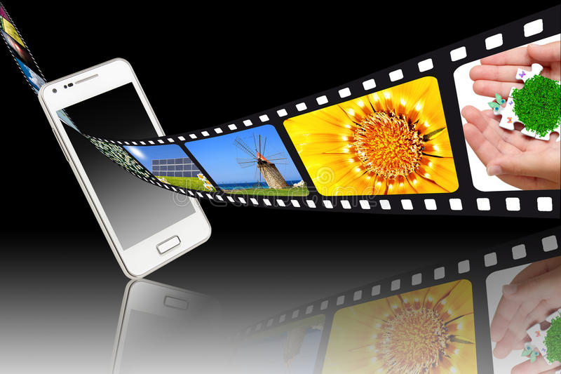 Films et smartphones de film photographie stock