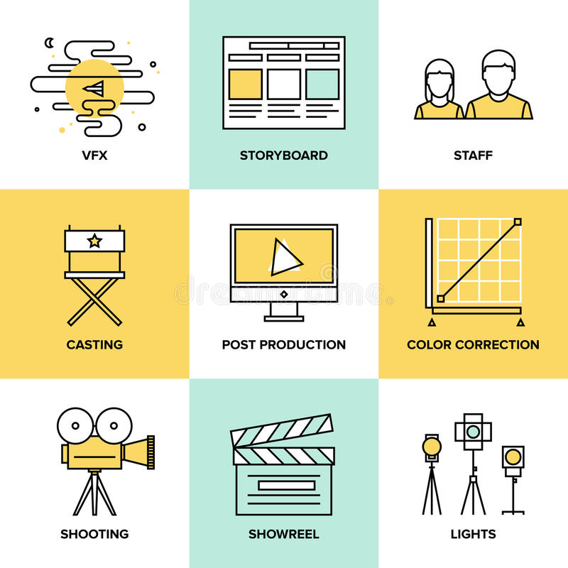 Films And Post Production Flat Icons Stock Vector - Image ...