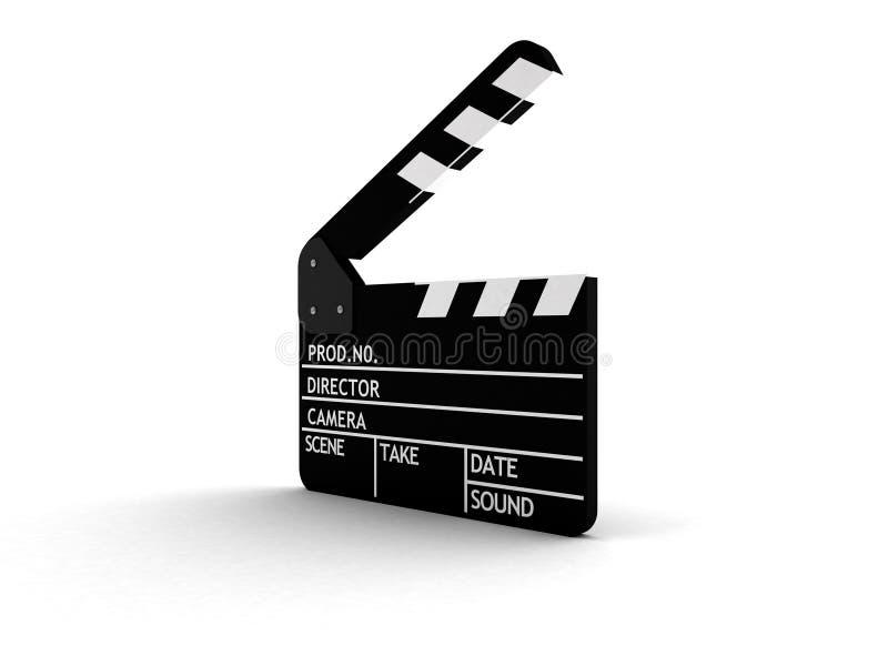Filmschiefer getrennt auf Weiß lizenzfreie abbildung