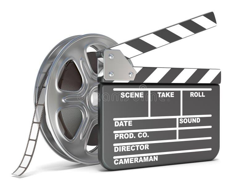 Filmspoel en de raad van de filmklep Videopictogram 3d geef terug stock afbeeldingen