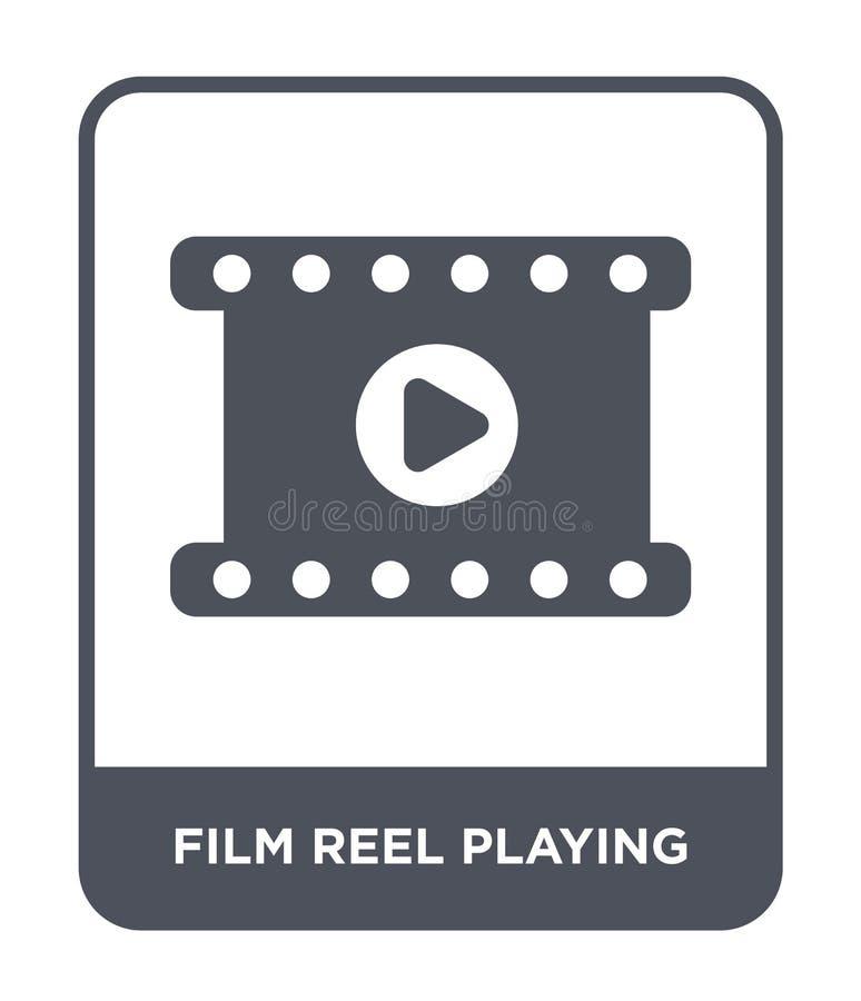 filmspoel het spelen pictogram in in ontwerpstijl filmspoel het spelen pictogram op witte achtergrond wordt geïsoleerd die filmsp stock illustratie