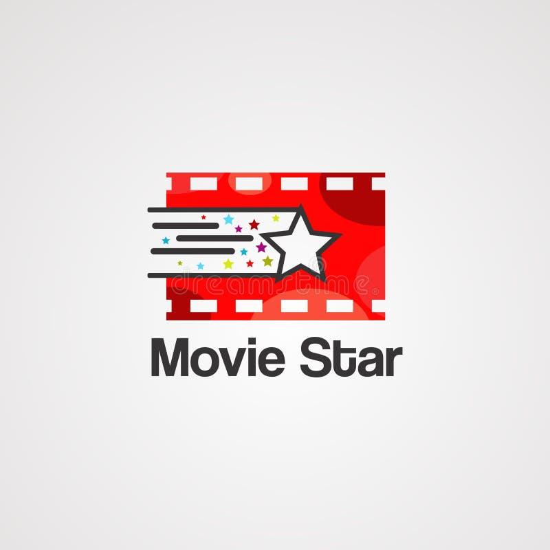 Filmstjärnalogovektor, symbol, beståndsdel och mall stock illustrationer