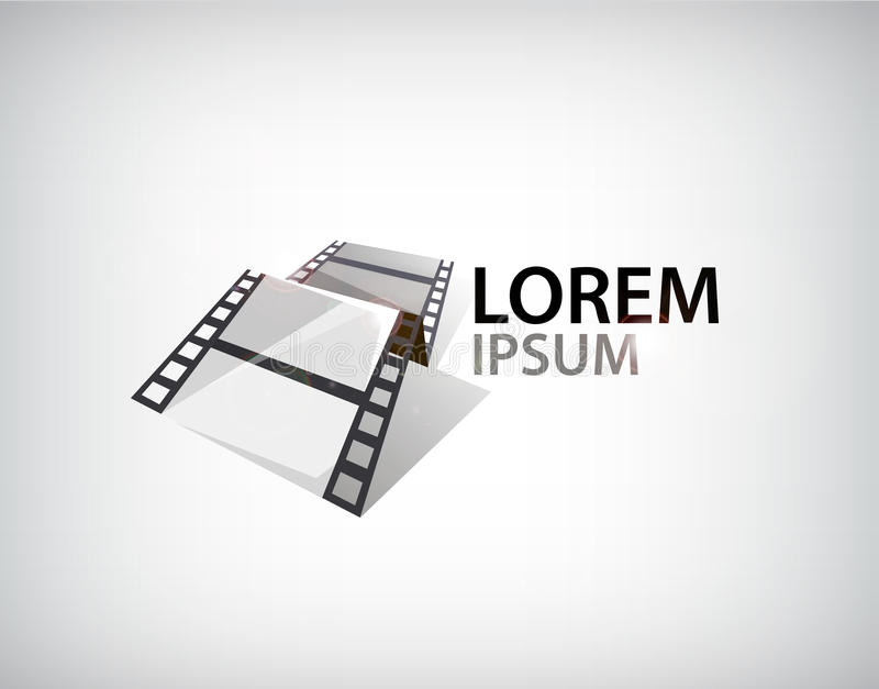 Filmstreifen des Vektors 3d, Bandlogo stock abbildung