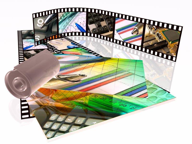 Filmstreifen, -kassette und -fotos stock abbildung