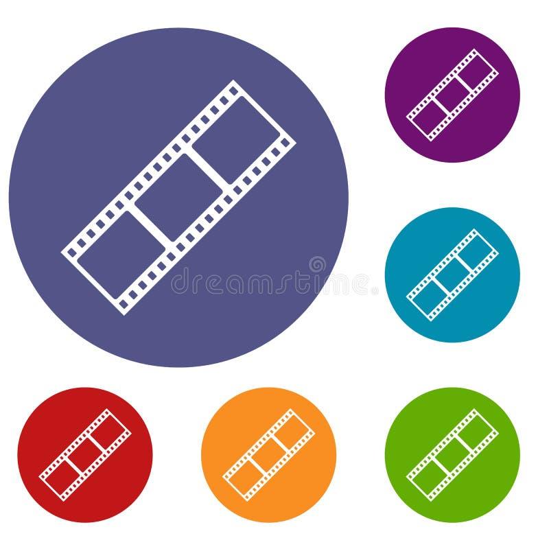 Filmstreifenikonen eingestellt lizenzfreie abbildung