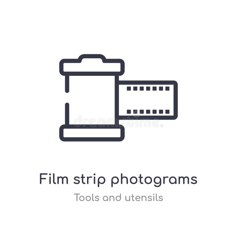 Filmstreifenphotogramm-Entwurfsikone lokalisierte Linie Vektorillustration von der Werkzeug- und Ger?tsammlung editable Haarstric lizenzfreie abbildung