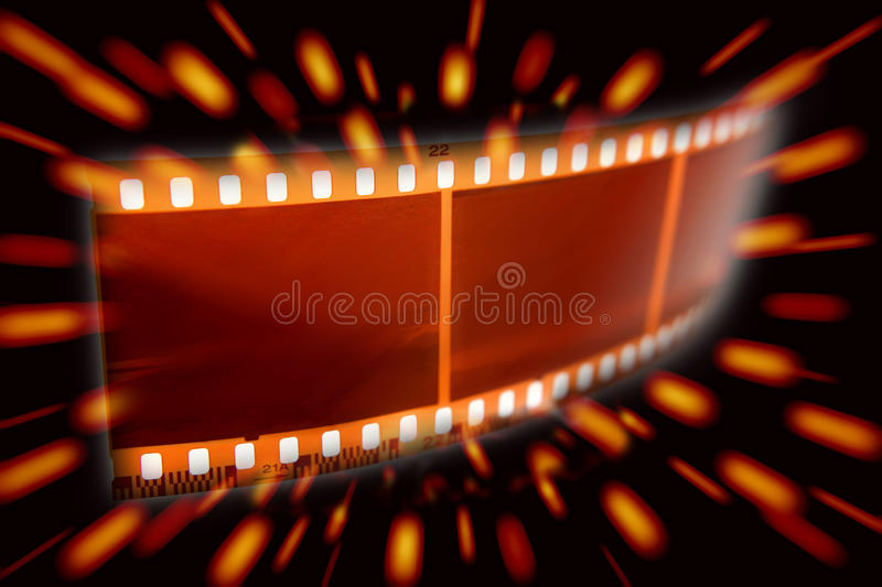 Filmstrip. On a hollywood style background royalty free stock photo