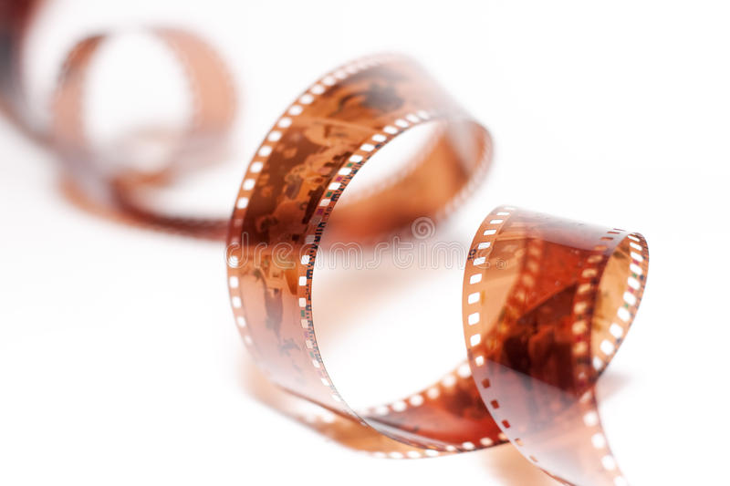Filmstrip. Roll over white background royalty free stock photo