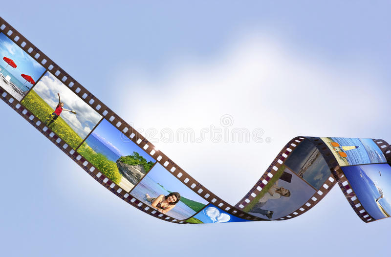 Filmstrip. With vacation photos on blue background stock photo