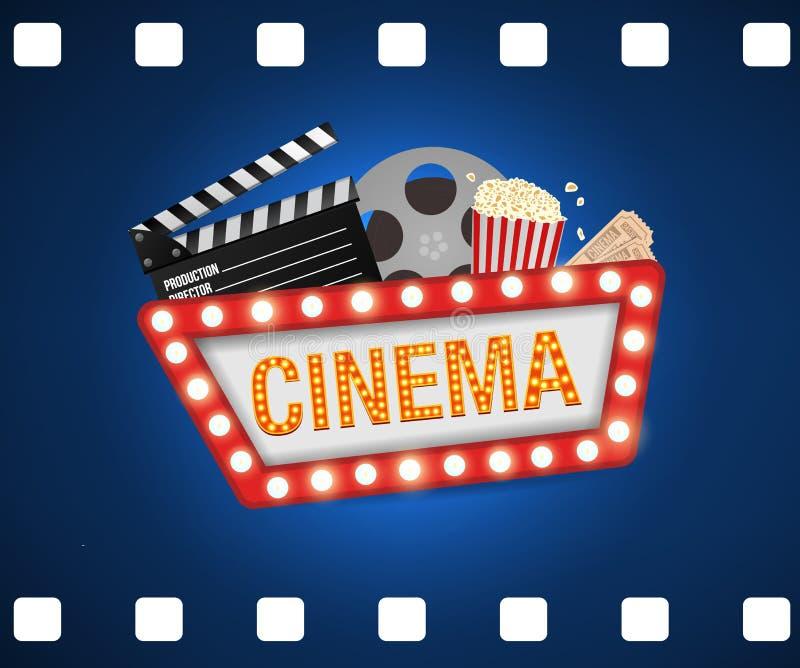 戏院海报设计模板 电影概念横幅设计电影时间背景横幅发光的标志 库存例证
