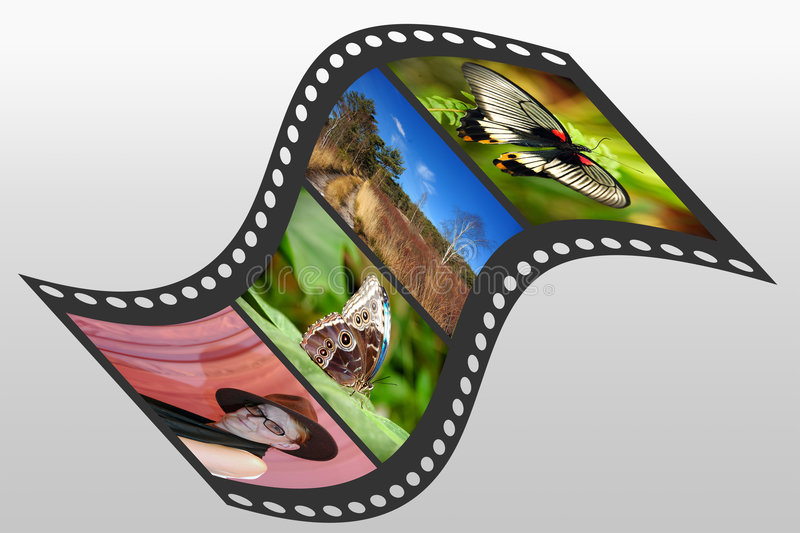 Filmstrip. Illustration of a filmstrip with 4 pictures embedded, clipping path included vector illustration