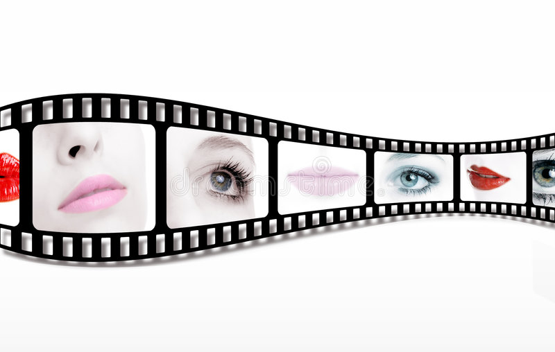 Filmstrip. The picture shows a filmstrip with close ups of a young woman' s face with lips and eyes royalty free stock images