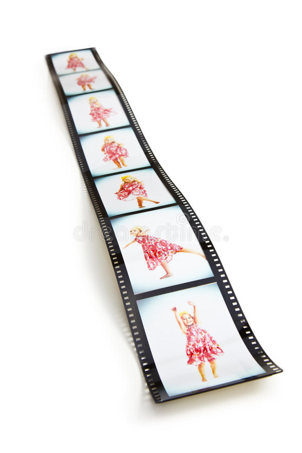 Filmstrip with dancing girl. The filmstrip with dancing girl stock photo