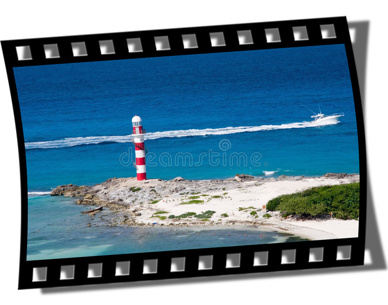 Filmstrip Frame. Cut piece of filmstrip of a travel movie on a developed negative curled at the edges royalty free stock image