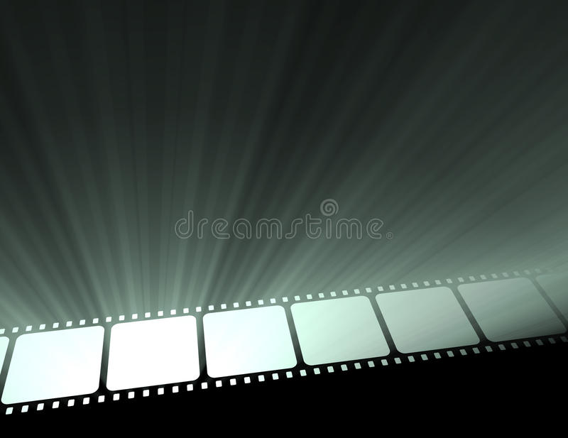 Filmstrip movie glowing light flare royalty free stock photography