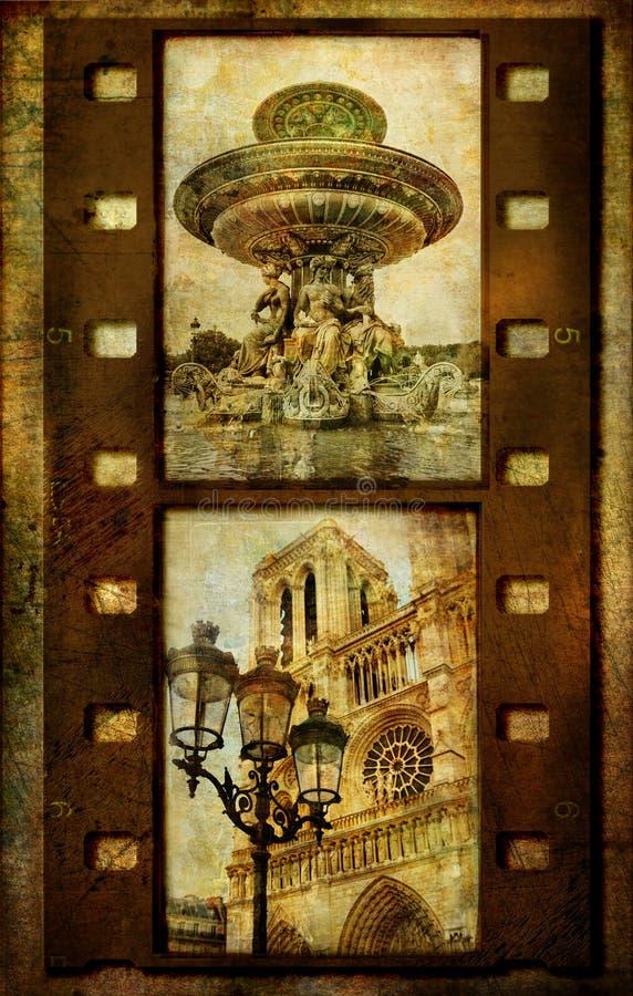 filmstrip retro paris royaltyfri illustrationer