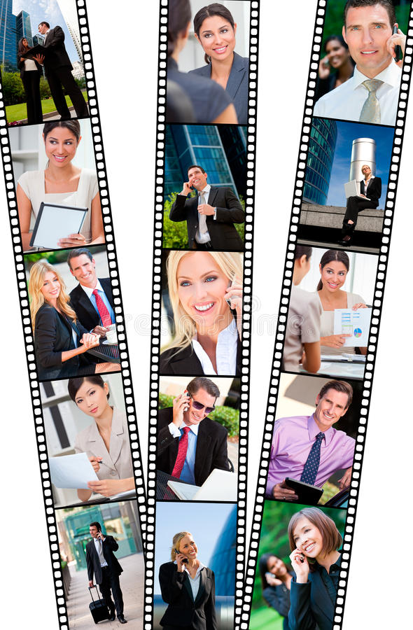 Filmstrip Successful City Business Men & Women. Filmstrip style montage of successful business men and women using mobile cell phone, laptop & tablet computers royalty free stock photos