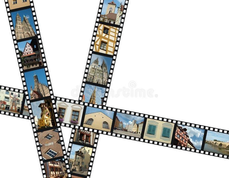 Filmstrips mit Reisenfotos von Süddeutschland stockbilder