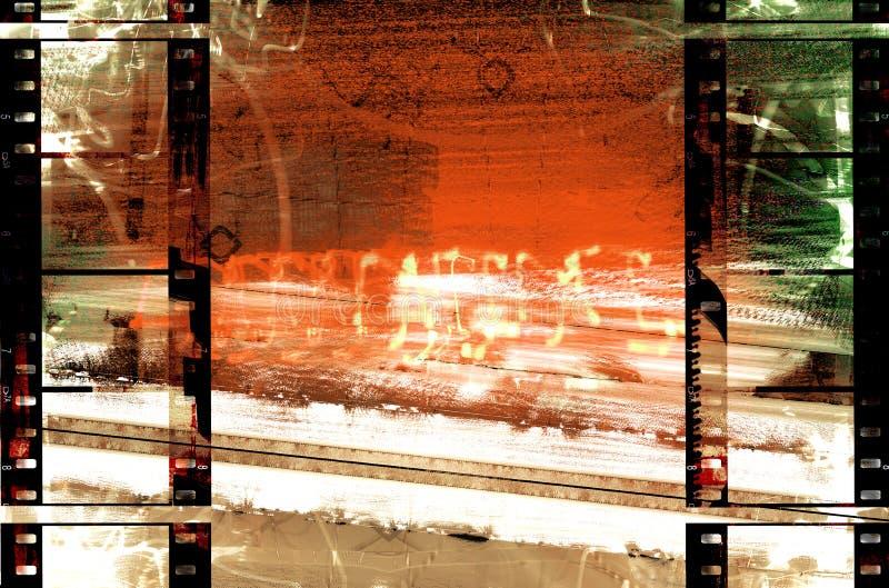 Filmstrips sulla scena di Grunge illustrazione vettoriale