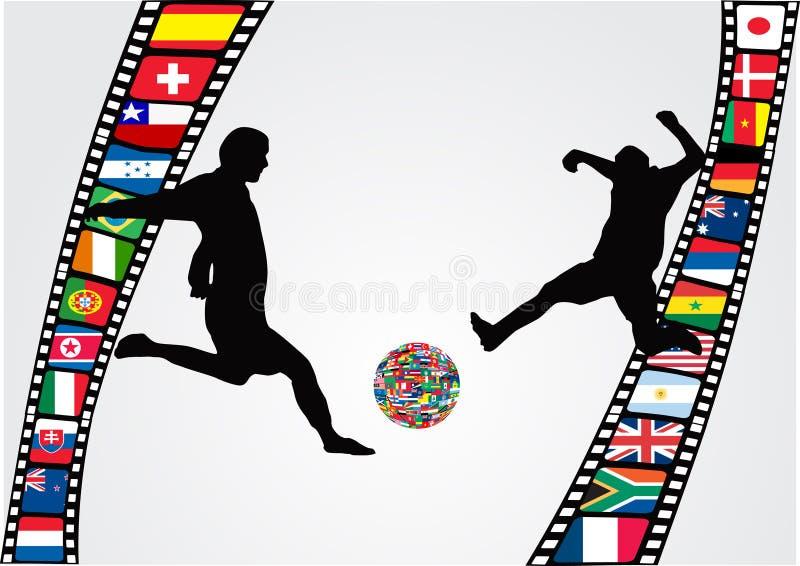 filmstripspelarefotboll royaltyfri illustrationer