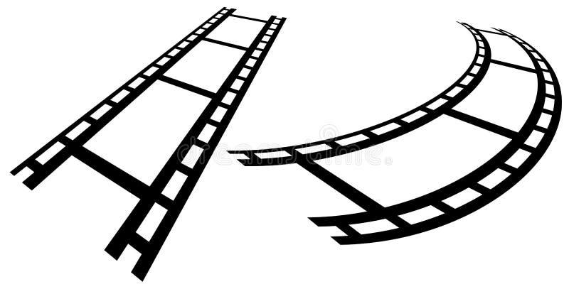 Filmstroken in perspectief Rechtstreeks en vervormde filmstrip vector illustratie