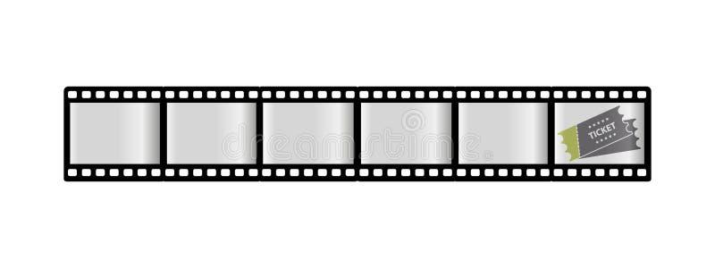 Filmstrook en Kaartje - Bioskoop, Filmpictogrammen - VectordieIllustratie - op Witte Achtergrond wordt geïsoleerd royalty-vrije illustratie
