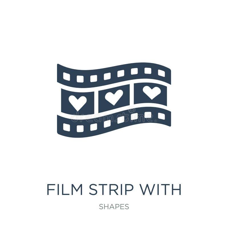 filmstrook met hartpictogram in in ontwerpstijl filmstrook met hartpictogram op witte achtergrond wordt geïsoleerd die filmstrook royalty-vrije illustratie