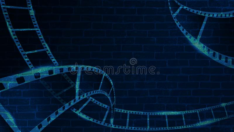 Filmstrook op bakstenen muur Achtergrond in cinematic stijl op bakstenen muur Oude bioskoop abstracte achtergrond De tijd van de  stock illustratie