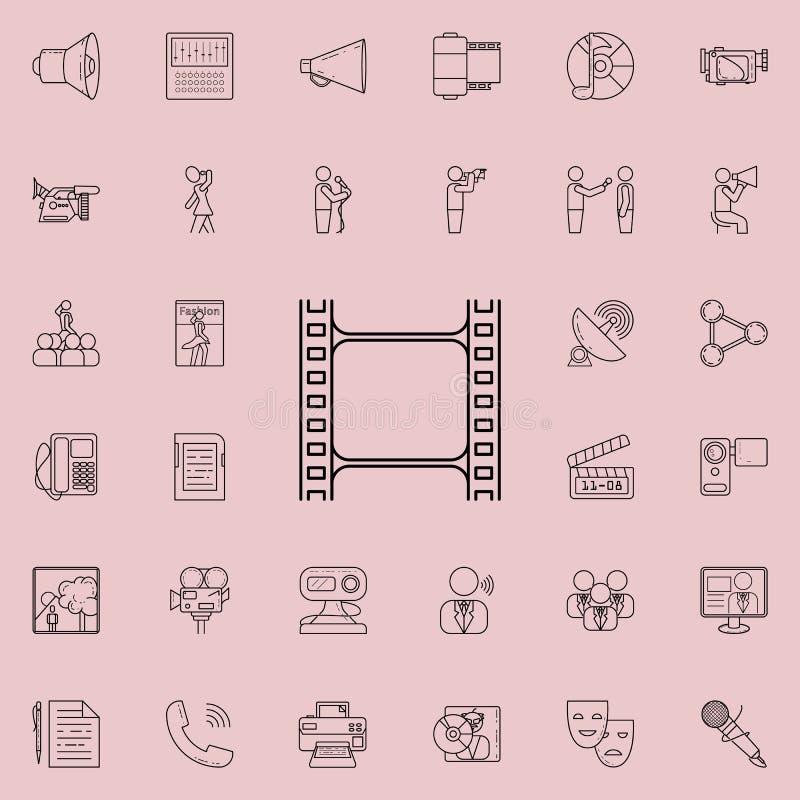 Filmsymbol Detaljerad uppsättning av massmediasymboler Högvärdigt kvalitets- tecken för grafisk design En av samlingssymbolerna f royaltyfri illustrationer