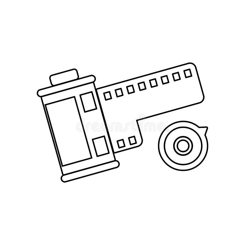 Filmsymbol E ?versikt tunn linje symbol f?r websitedesign och royaltyfri illustrationer