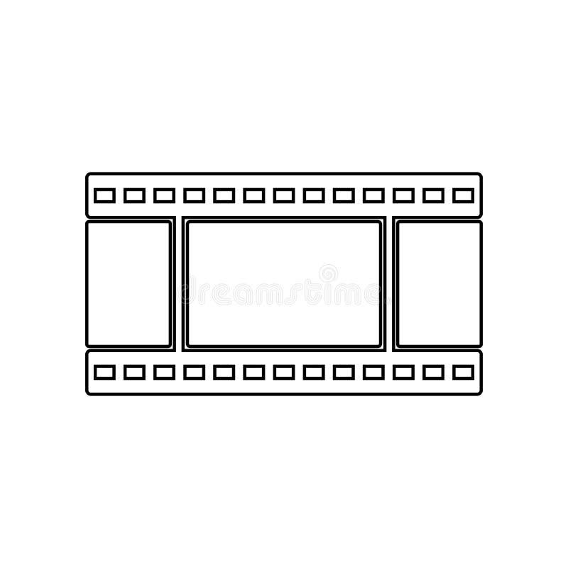 Filmsymbol E ?versikt tunn linje symbol f?r websitedesign och stock illustrationer