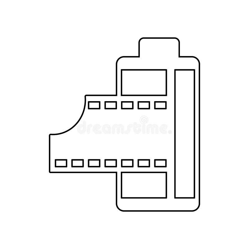 Filmsymbol E ?versikt tunn linje symbol f?r websitedesign och vektor illustrationer