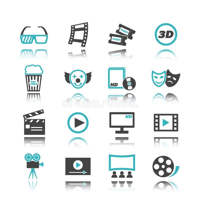 Filmsymboler med reflexion vektor illustrationer