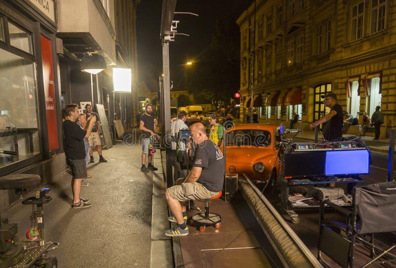 Filmteam in Zagreb, Kroatien stockfoto