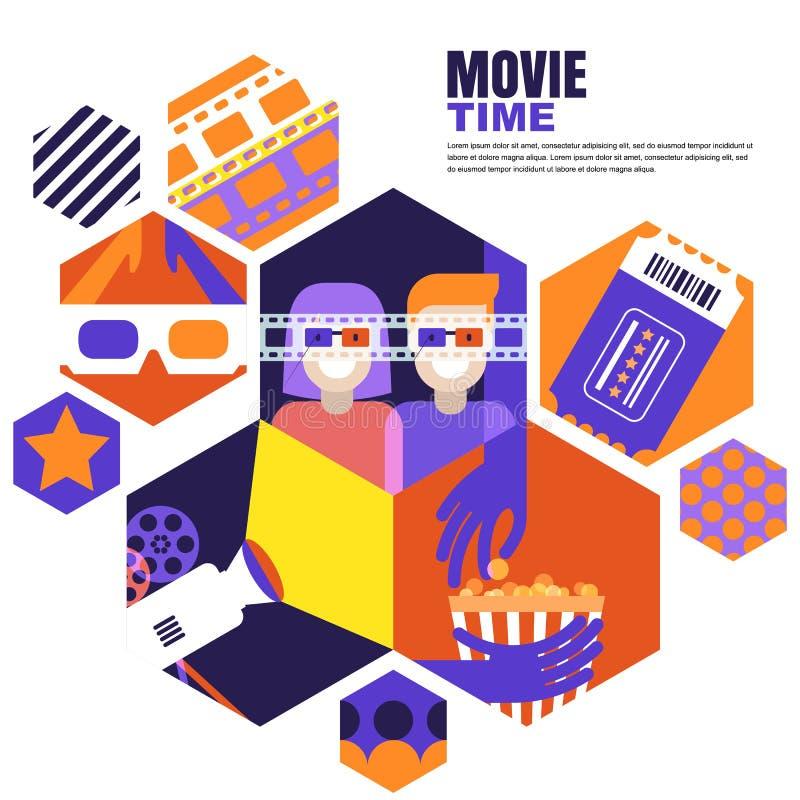Filmtid, datum på biobegreppet Vektordesignbeståndsdelar för bioreklambladet, affisch, baner, försäljningsingångsbiljett royaltyfri illustrationer