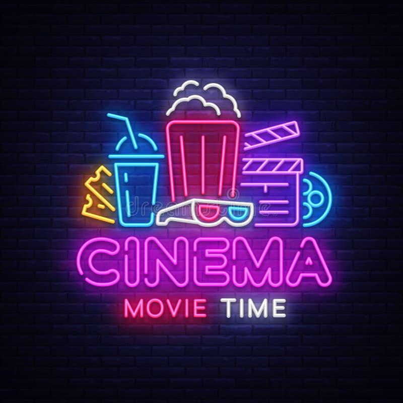 FilmTid neon Logo Vector Tecken för bionattneon, designmall, modern trenddesign, nattneonskylt, natt royaltyfri illustrationer