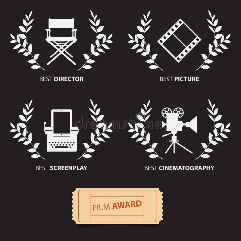 Filmtoekenning en kronen op zwarte achtergrond Vector stock illustratie