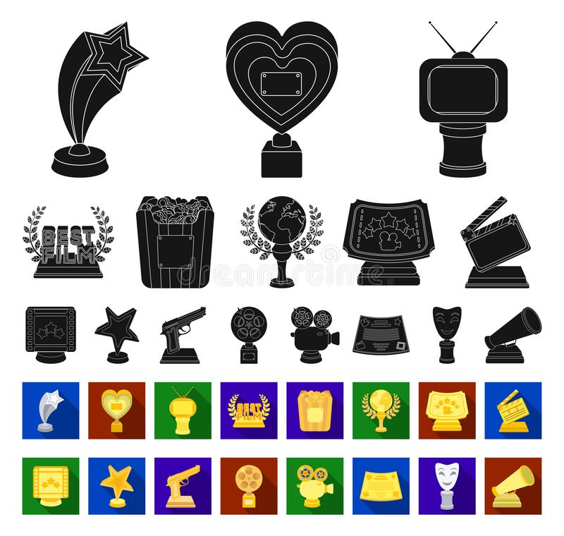 Filmtoekenning en prijzen zwarte, vlakke pictogrammen in vastgestelde inzameling voor ontwerp Het van het de Academie vectorsymbo vector illustratie