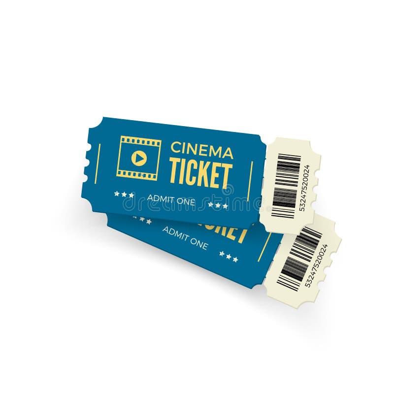 Filmu bilet Błękitni kinowi bilety odizolowywający na białym tle Realistyczny kinowy biletowy szablon również zwrócić corel ilust royalty ilustracja