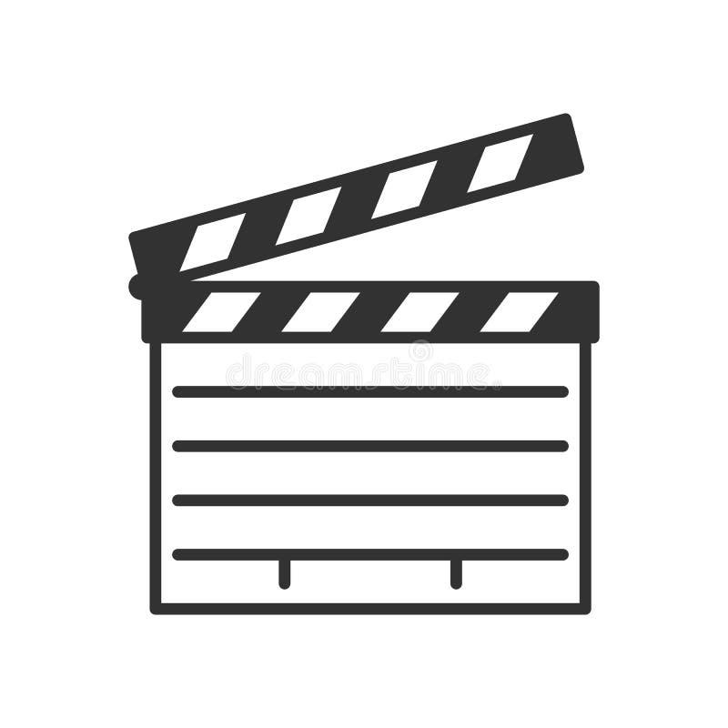 Filmu Clapboard konturu Płaska ikona na bielu royalty ilustracja
