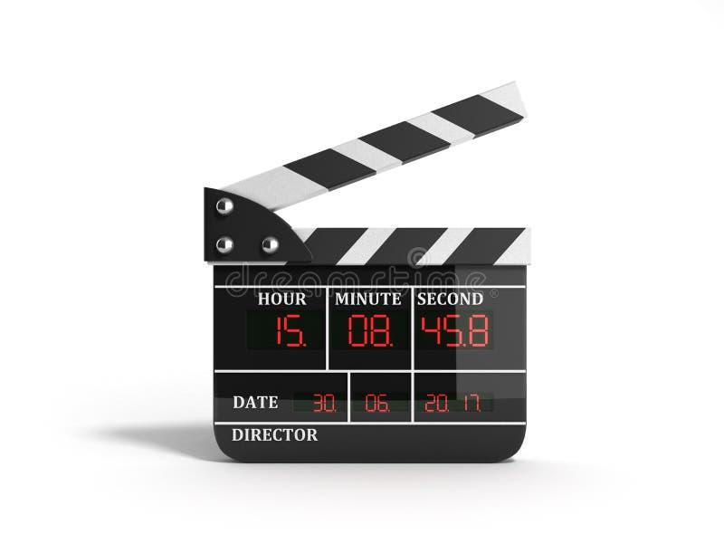 Filmu clapper deska wysokiej jakości 3d odpłaca się na bielu ilustracja wektor