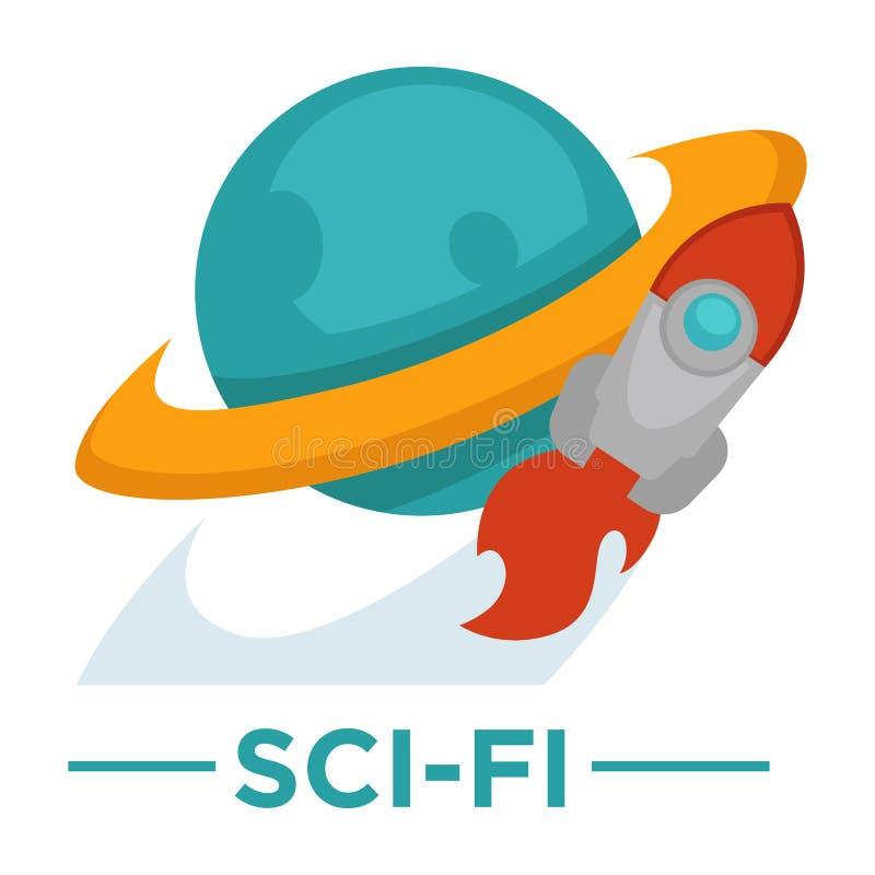 Filmu gatunku fantastyka naukowa kinowa wektorowa ikona astronautycznej rakiety kula ziemska ilustracja wektor