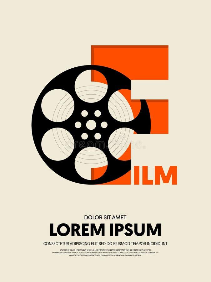 Filmu i filmu abstrakcjonistycznego nowożytnego rocznika retro plakatowy tło royalty ilustracja