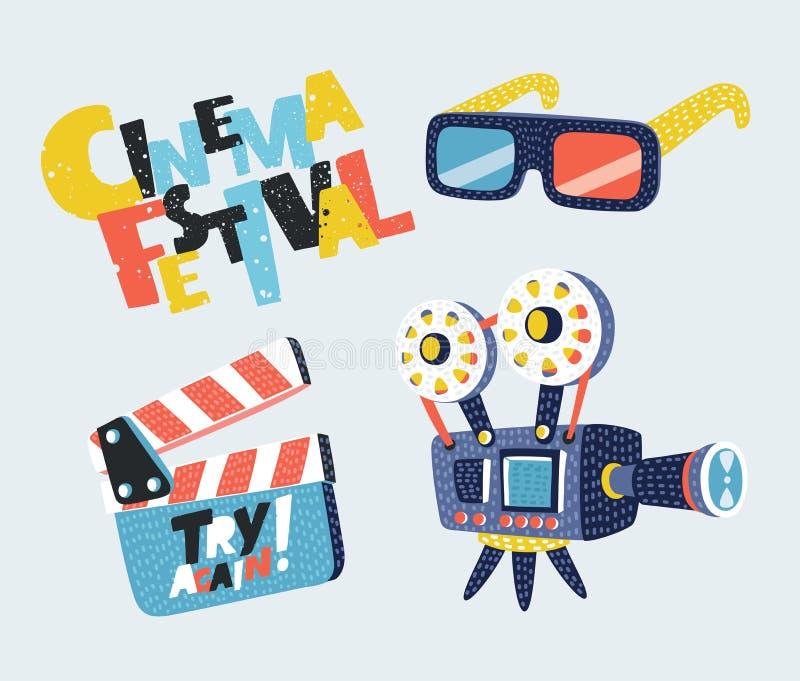 Filmu ikony Ustawiający megafon, rolka, kamera, bilet, Clapperboard i fast food, również zwrócić corel ilustracji wektora royalty ilustracja