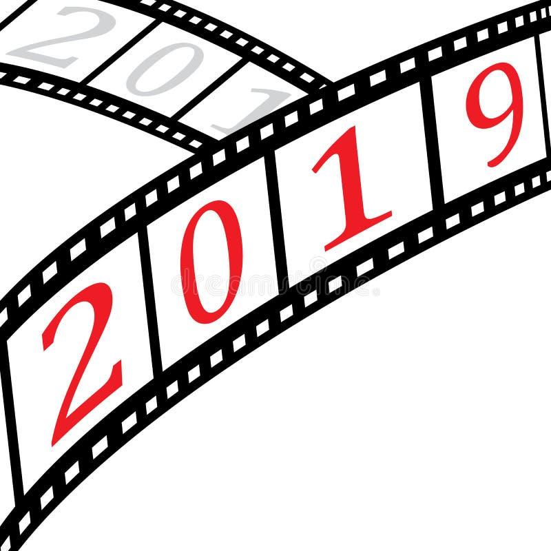 Filmu 2019 z pustym pisze terenem i paski Wektorowy Illustratio royalty ilustracja