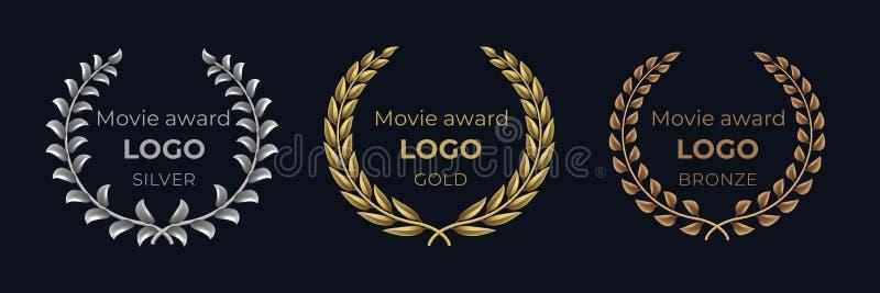 Filmutmärkelselogo Guld- emblem för lager, baner för vinnarebelöninglövverk, lyxigt begrepp för showpris Guld- krans för vektor royaltyfri illustrationer