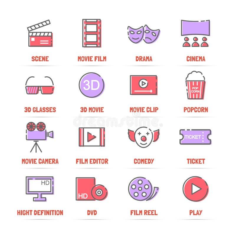 Filmvektorlinje symboler med plana färger stock illustrationer