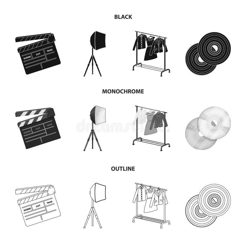 Filmy, dyski i inny wyposażenie dla kina, Robić film ustawiać inkasowym ikonom w czarnym, monochromatyczny, zarysowywa styl ilustracja wektor