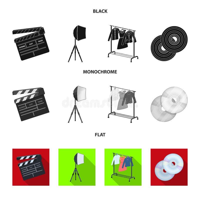 Filmy, dyski i inny wyposażenie dla kina, Robić film ustawiać inkasowym ikonom w czarnym, płaski, monochromu styl ilustracja wektor